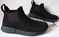 Зимниемужские ботинки Gross кожа нубук мехГросс челси взуття