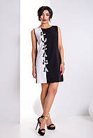 """Женское модное стильное короткое  платье в интернет магазине """"Домино"""" (черный+белый)"""