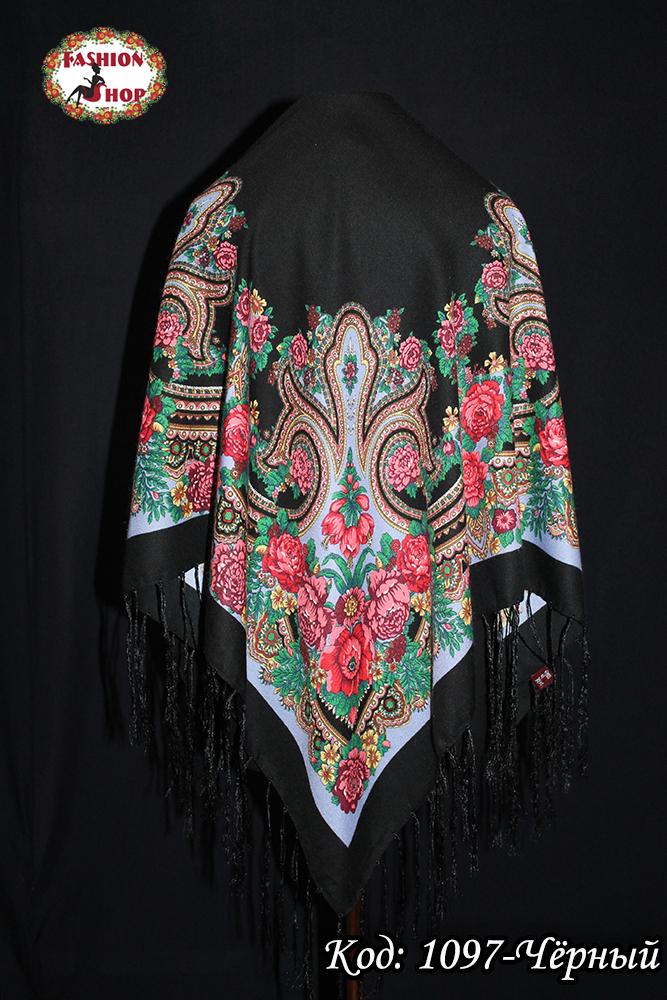 Павлопосадский чёрный платок Анна