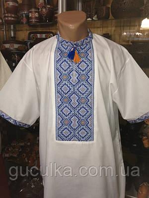 Літня вишита сорочка чоловіча з голубим орнаментом  продажа 34b39c8b98d5a