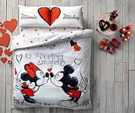 Двуспальное евро постельное белье TAC Mickey & Minnie Perfect Ранфорс