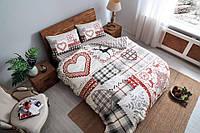 Двуспальное евро постельное белье TAC Savina Red Фланель