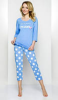 Пижама женская горохи голубая 46p Regina 840 Польша