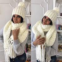 Женский набор крупной вязки шапка+шарф 22П11042
