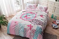 Двуспальное евро постельное белье TAC Butterfly Pink Фланель