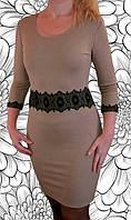Платье с кружевом на талии цвета кофе с молоком, фото 1