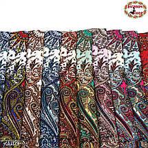 Тёмно-синий павлопосадский шерстяной платок Восточная сказка, фото 3