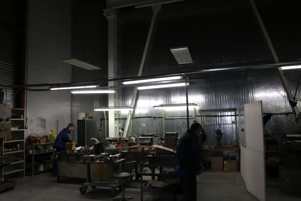 Мощность приборов позволяет обогревать бо́льшую площадь, поэтому установка обогревателей производилась по центру рабочего места. Зона действия прибора охватывала абсолютно всё рабочее пространство, которое нуждалось в отоплении.