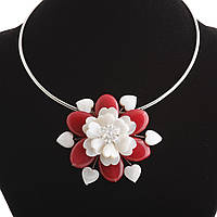 Колье на обруче красный Цветок перламутр и натуральный агат  Ø 6см