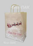 """Новогодний пакет с кручеными ручками """"Сани"""" 335х260х140"""