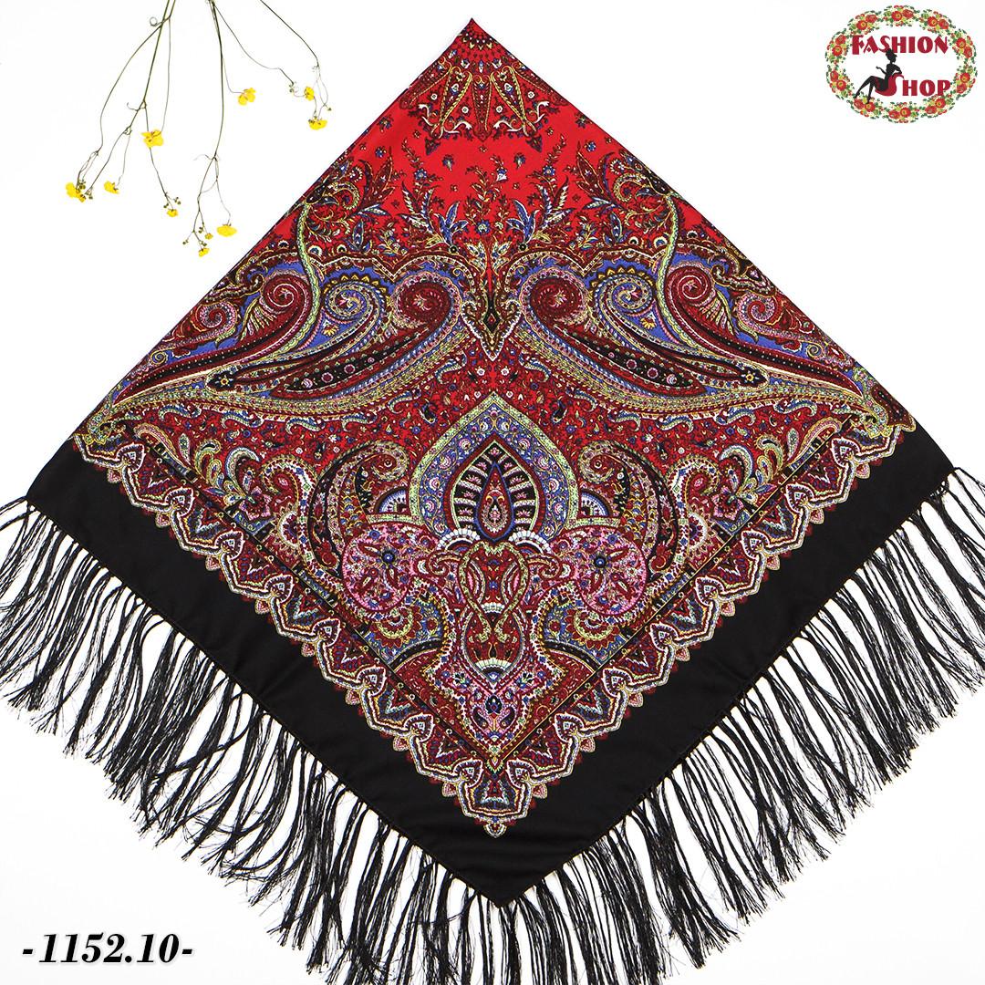 Чёрный павлопосадский шерстяной платок Восточная сказка