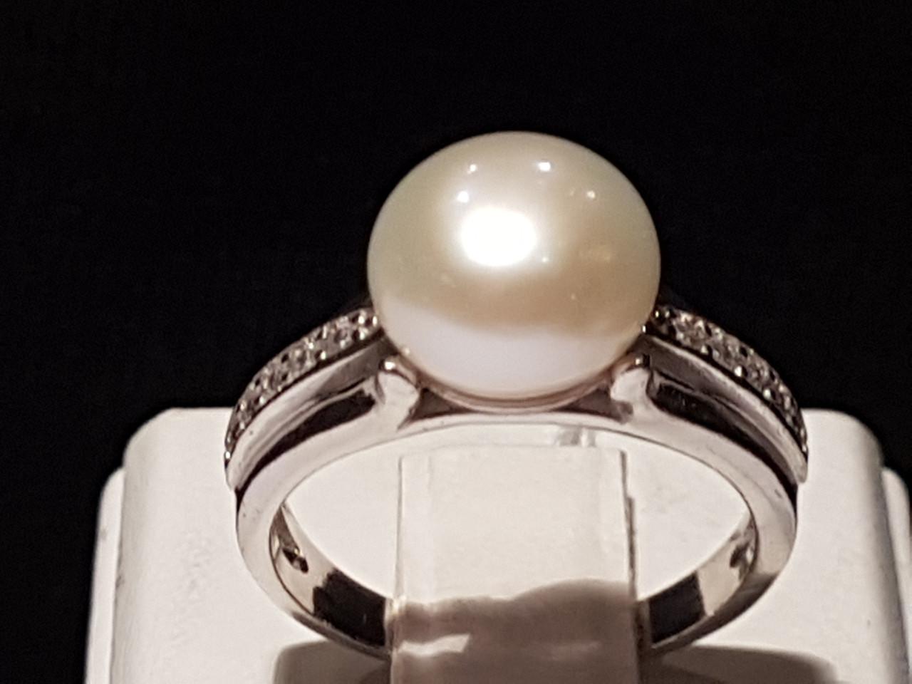 Срібне кільце Паж з перлами. Артикул 1759/9р-PWT