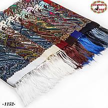 Чёрный павлопосадский шерстяной платок Восточная сказка, фото 3