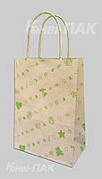 """Пакет с кручеными ручками """"Подарок зеленый"""" 230х170х90"""