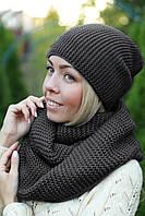 Комплект шапка и шарф хомут шерстяной