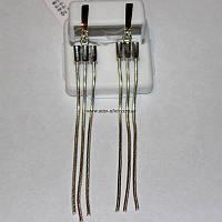 Сережки цепочки серебро с золотом Блюз