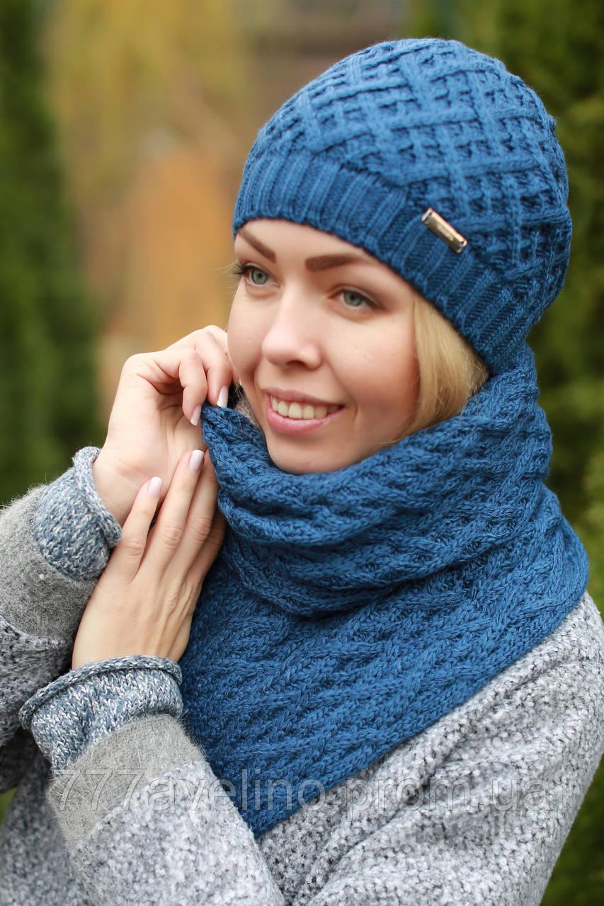Комплект шапка и шарф шерстяной