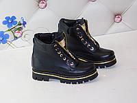 Зимние кожаные ботинки черные в стиле Тимберленд