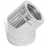 Колено дымохода двустенное нерж/нерж Версия Люкс 45° D-100/160 мм толщина 0,6 мм