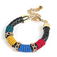 [6.5см] Браслет женский, гибкий, декорированный элементами красного, жёлтого и синего цветов, с цепочкой