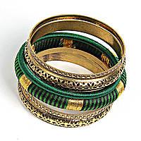 """[6см] Браслет """"Кольца Змеи"""", женский, из шести тонких колец и обруча зеленого цвета с золотыми элементами"""