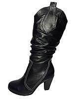 Кожаные женские зимние удобные стильные сапоги на каблуке 39р