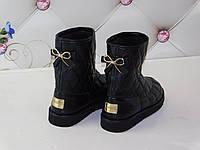 Угги кожаные женские черные стеганные в стиле Chanel