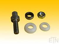 Дверной подшипник - монтажный комплект -, ось, шестигранная гайка, 2 кольца PA6, подшипник, kone