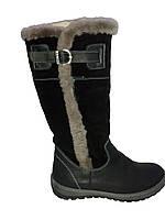 Зимние сапоги женские кожаные на плоской подошве
