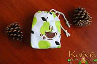 Мешочек подарочный декоративный с грушками из натурального хлопка на завязках с рисунком чашка с зернами кофе