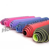 Коврик 6 мм для фитнеса и йоги TPE 2-х слойный