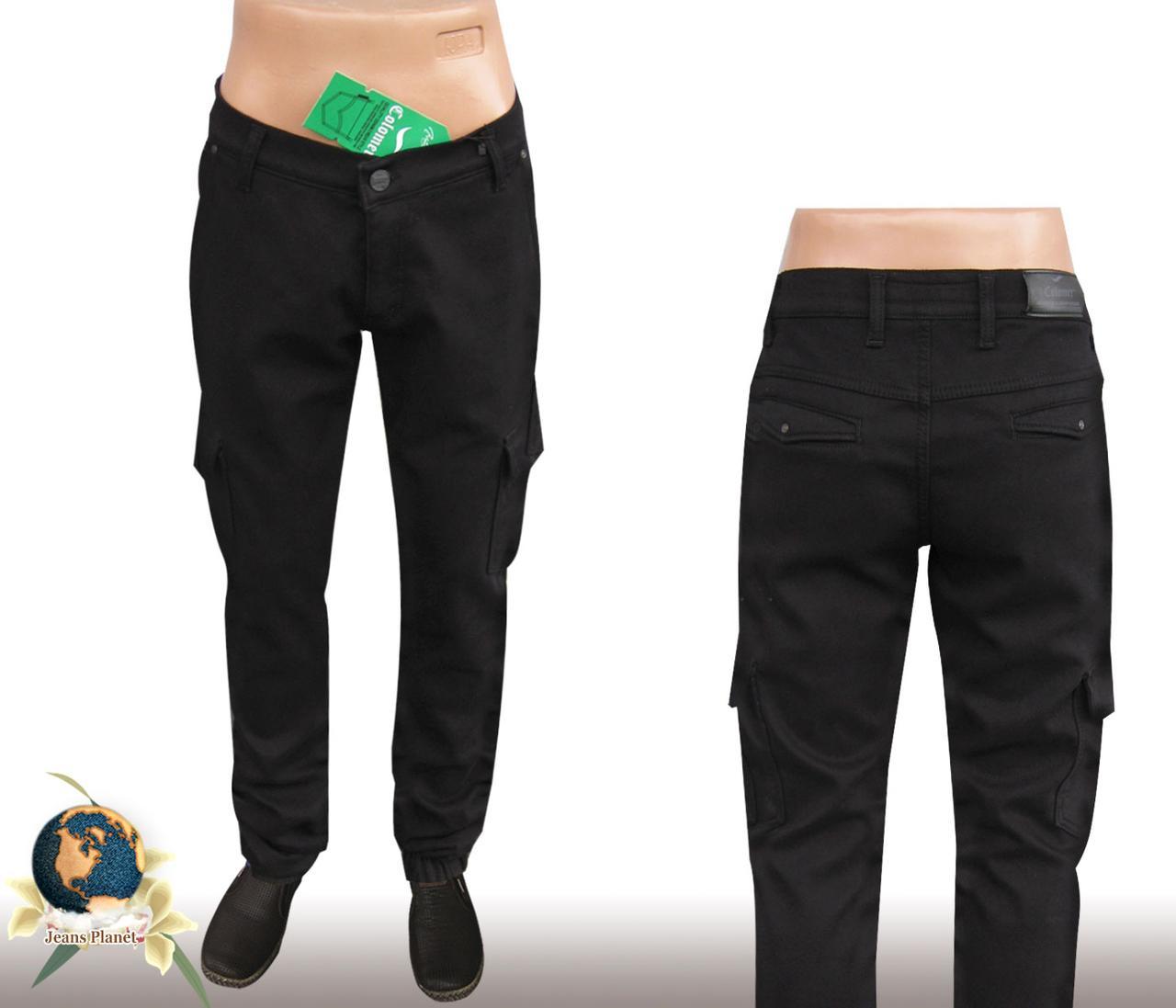 Джинсы мужские утеплённые карго чёрного цвета