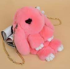 Сумка, рюкзак Кролик розовый цвет (натуральный мех)