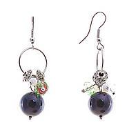 Серьги подвески с цветными мелкими и чёрной бусиной на кольце,металл под серебро,45мм