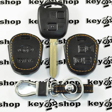 Чехол (кожаный) для авто ключа Toyota (Тойота) 2 кнопки , фото 2