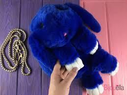 Сумка, рюкзак Кролик синий цвет (искусственный мех)