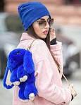Сумка, рюкзак Кролик синий цвет (искусственный мех), фото 3