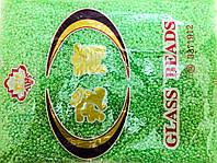 Бисер мелкий 450грм в упаковке, цвет салатовый-перламутр