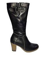 Кожаные женские зимние удобные стильные сапоги на каблуке 38р Pgv