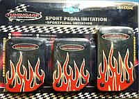 Накладки на педали (черные с красным рисунком огонь (газ-тормоз-сцепление)
