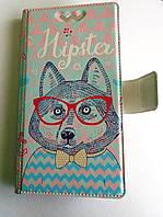 Яркий универсальный чехол книжка Собка Хипстер для телефонов с диагональю  4.7 - 5.0 дюйма