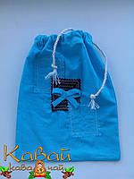 Мешочек подарочный декоративный голубой из натурального хлопка на завязках с украшением