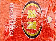 Бисер мелкий 450грм в упаковке, цвет оранжевый-перламутр