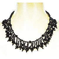 Ожерелье из чёрного агата разной формы, длина 60см