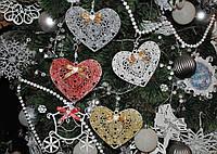Новогодняя игрушка на елку сердце ажурное, фото 1