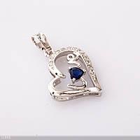 Кулон  Хьюпинг Сердце синий камень  цвет-серебро  L-3см