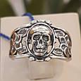 Серебряное байкерское кольцо Череп и Розы, фото 4