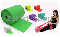 Лента эластичная для фитнеса и йоги в рулоне (р-р 25м x 15см x 0,3мм)  (силикон)