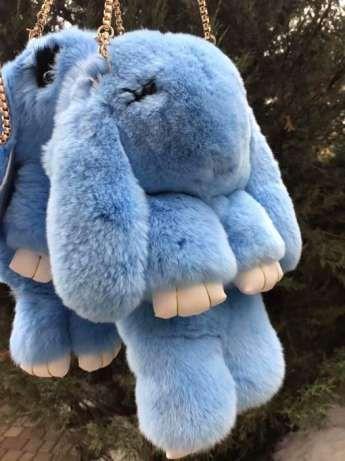 Сумка, рюкзак Кролик небесный цвет (натуральный мех)