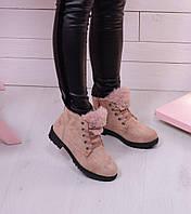 Зимние женские ботинки на шнурках и плоской подошве